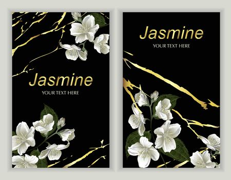 Modern design for greeting cards, wedding decorations, invitation,sales, packaging. Set of Vector banner with Luxurious jasmine flowers on dark background with Marble texture.
