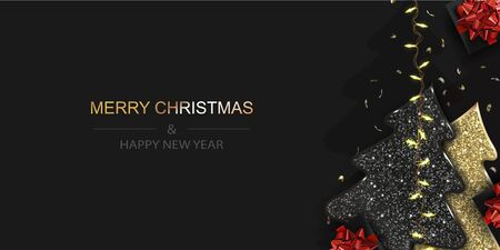 Xmas Poster, greeting cards, banner. New Year horizontal Background with Sparkling Christmas tree and gift boxes.