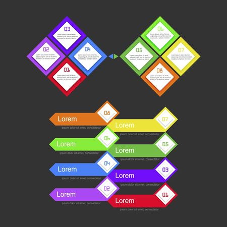 Infographic template with 8 steps, workflow, process chart