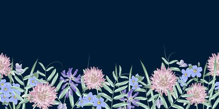 Seamless border with wild flowers. Modern floral pattern for textile, wallpaper, print, gift wrap, greeting or wedding background.