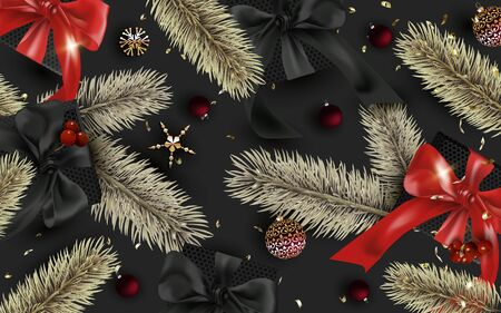 Dark Merry Christmas and Happy New Year Background. Gift boxes with realistic red bow and Holly Berries. Red Christmas balls, glitter gold confetti, gold pine branch. Poster, greeting cards, banner.