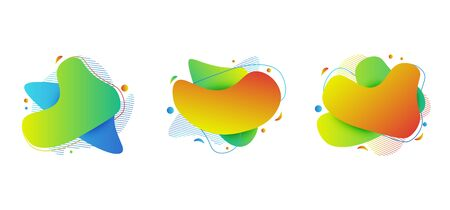 Geometric colorful abstract shapes set. Flat geometric liquid form, minimal modern vector template isolated white background. Standard-Bild - 145201358