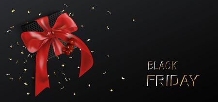 Black friday template. Gift boxes with realistic red bow and Holly Berries. Dark background Illustration