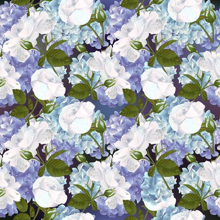 Seamless pattern with blue hydrangea and roses flowers. Modern floral pattern for packaging, textile, wallpaper, print, gift wrap, scrapbooking, decoupage, greeting or wedding background.