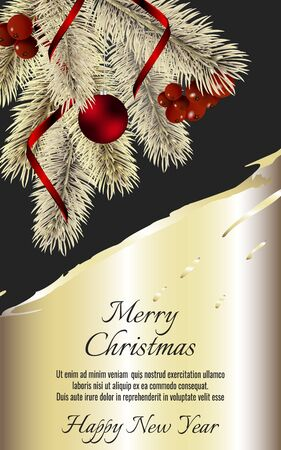 Banner with detailed gold christmas tree, red rinnon and red ball on dark background. Vector New Year design for christmas cards, banners, flyers, party posters, holiday sales, web page, packaging. Standard-Bild - 145201364