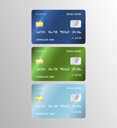 Set of Realistic detailed templates design for Debit card, Credit card. ATM card mockup with gold metal gradient chip. Illustration