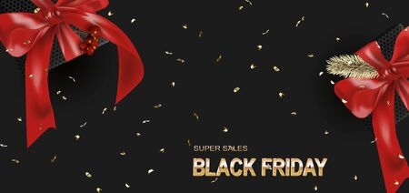 Black friday template. Gift boxes with realistic red bow and Holly Berries. Dark background Standard-Bild - 145201369