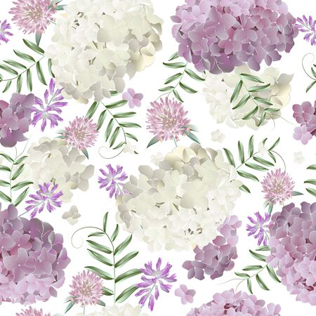 Seamless pattern with hydrangea and wild flowers. Modern floral pattern for textile, wallpaper, print, gift wrap, greeting or wedding background. Standard-Bild - 145201370