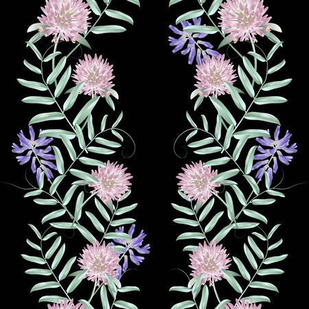 Seamless pattern with wild flowers on dark background. Modern floral pattern for textile, wallpaper, print, gift wrap, greeting or wedding background. Standard-Bild - 145201371