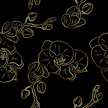 Seamless pattern with gold orchids flowers on black background.Modern floral pattern for packaging, textile, wallpaper, print, gift wrap, greeting or wedding background. Standard-Bild - 145201373