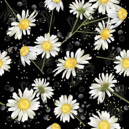 Vector botanical seamless pattern with chamomile flowers on black. Modern floral pattern for natural health care products, textile, wallpaper, print, gift wrap, greeting or wedding background. Standard-Bild - 145201396
