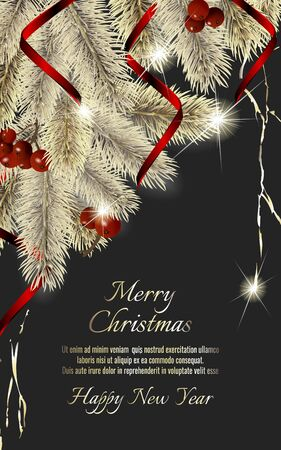 Banner with detailed christmas tree and red ribbon on dark background. Vector New Year design for christmas cards, banners, flyers, party posters, holiday sales, web page, packaging. Standard-Bild - 145201398