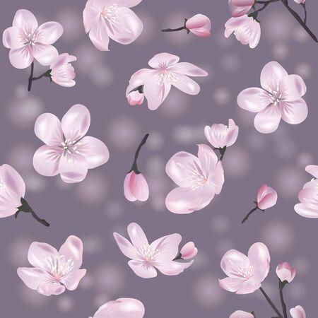 Vector botanical seamless pattern with Blossoming sakura. Modern floral pattern for textile, wallpaper, print, gift wrap, greeting or wedding background. Standard-Bild - 145201397