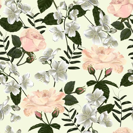 Seamless pattern with jasmine flowers. Modern floral pattern for textile, wallpaper, print, gift wrap, greeting or wedding background. Illustration