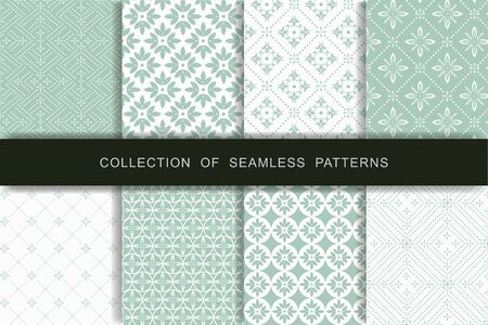 Set of 8 Seamless Patterns. Textile printing Vector illustration. Standard-Bild - 146111979