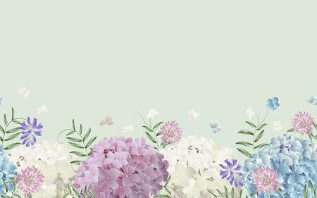 Seamless border with wild flowers. Modern floral pattern for textile, wallpaper, print, gift wrap, greeting or wedding background. Standard-Bild - 145201399