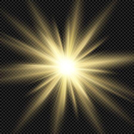 Realistic gold sun rays. Shine light effect