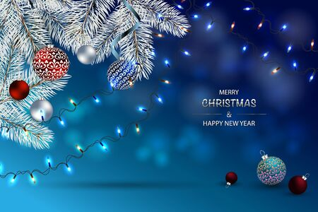 Blue Christmas Card, Happy New Year Background. Holiday Poster, greeting cards, banner. Illustration