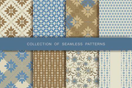 Set of 8 Seamless Patterns. Textile printing Vector illustration.