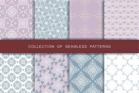 Fabric print set. 8 Seamless patterns.