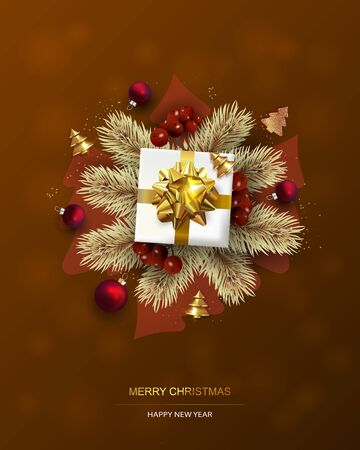 Xmas Poster, greeting cards, banner. New Year horizontal Background with Sparkling Christmas tree and Abstract Gold Christmas Trees. Illustration