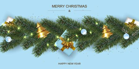 Xmas Poster, greeting cards, banner. New Year horizontal Background. Flat top view of gift boxes and Luminous garlands.