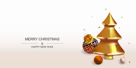 Xmas Festive Poster, greeting cards, banner. New Year horizontal Background with Christmas decoration. Illustration