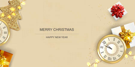Xmas Festive Poster, greeting cards, banner. New Year horizontal Background with Christmas decoration. Ilustrace