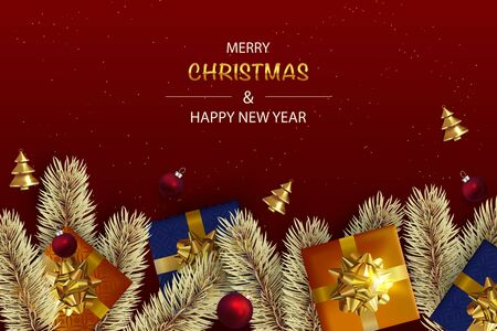 Christmas background with realistic Red Christmas balls and Abstract Gold Christmas Trees.  Red Holiday's Background. Flat lay, top view.