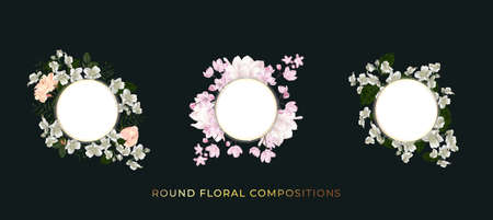 Floral round compositions set. Template for greeting card, wedding illustration Standard-Bild - 164104832