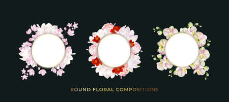 Floral round compositions set. Template for greeting card, wedding illustration