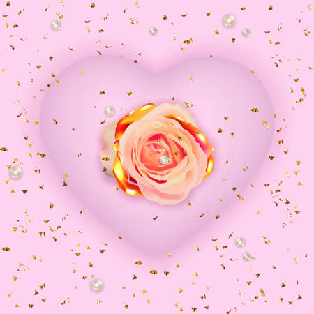 Valentine's Day banner. Mother's day poster. Background, poster, greeting card with golden flower and decorative hearts.