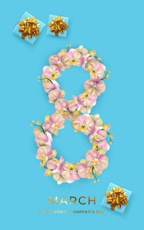 International Women's Day. Blue Banner, flyer, holiday card for newsletter, brochures, postcards for March 8.digit 8 made of orchid flowers Standard-Bild