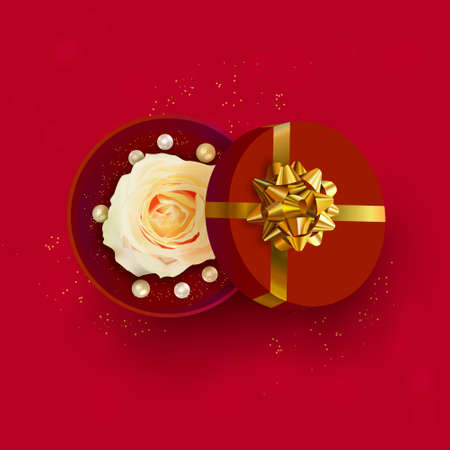 Valentine's Day banner. Red Background, poster, greeting card with realistic gift box and rose flower. Standard-Bild - 163386351