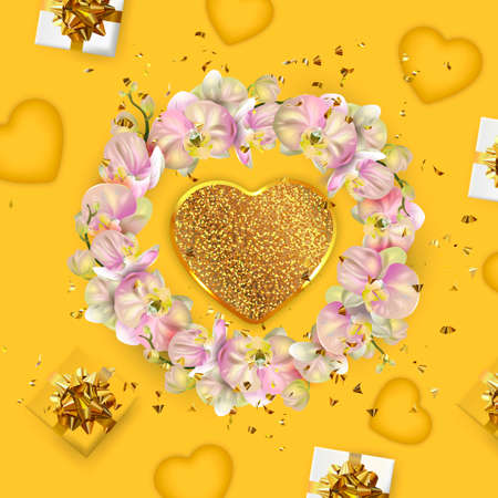 Valentine's Day banner. Mother's day poster. Background, poster, greeting card with golden flower and decorative hearts. Standard-Bild - 163386442