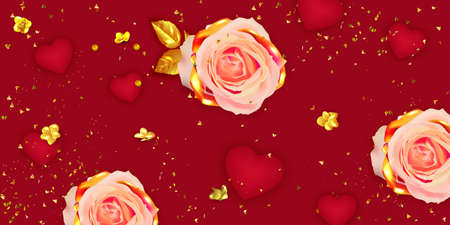 Valentine's Day banner. Red Background, poster, greeting card with realistic gift box and rose flower. Standard-Bild - 163386388