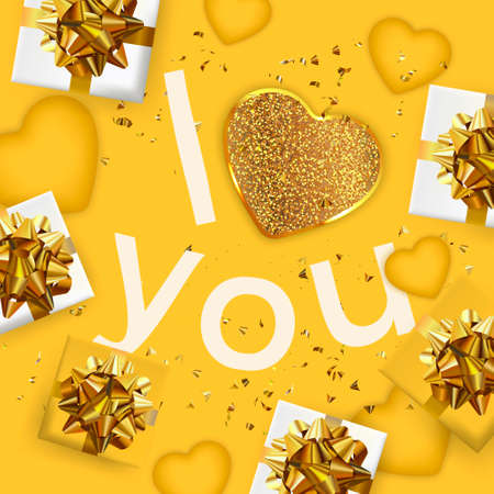 Happy Valentine's Day or Mother's day card. Yellow Greeting card. Festive gifts box. Romantic banner. Standard-Bild