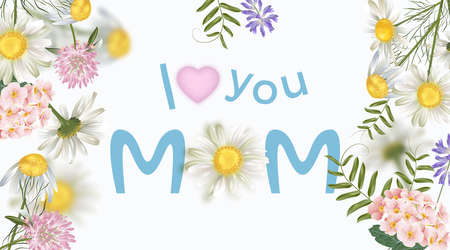 Happy Mother's day greeting card. Poster or banner for Mother's day holiday.