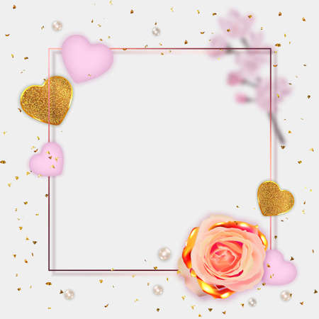 Valentine's Day banner. Mother's day poster. Background, poster, greeting card with golden flower and decorative hearts. Standard-Bild - 163386614