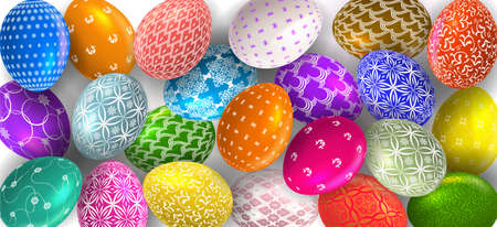Happy Easter banner with Easter eggs. Greeting card for Easter Day. Top view.