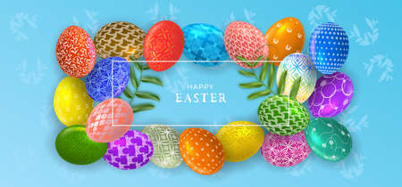 Easter banner with Easter eggs. Greeting poster for Easter Day. Top view. Promotion and shopping template for Easter.