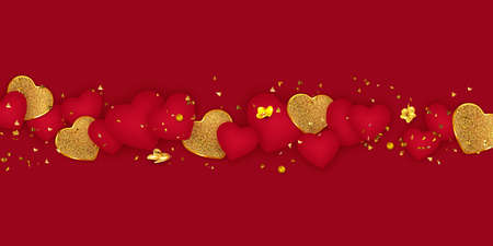 Valentine's Day background. Greeting card. Romantic composition with hearts.