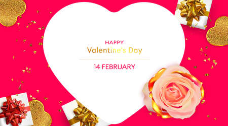 Happy Valentine's Day card. Romantic Greeting card. 3d Festive gifts box and rose flower. Holiday banner. Standard-Bild