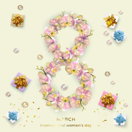 International Women's Day. Blue Banner, flyer, holiday card for newsletter, brochures, postcards for March 8.digit 8 made of orchid flowers Reklamní fotografie