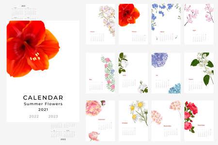 2021, 2022, 2022 calendar template. Realistic botanical Calendar design. Set of 12 months. Illustration