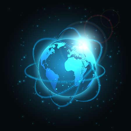 Matrix binary around planet. Digital binary data with glowing, blurry neon lines. Technology background with digits 1.0. and globe. Standard-Bild - 163390332