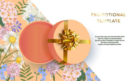 Holiday background promotional template. Women's day sale template. Decorative open gift box with gold bow top view. Floral pattern.