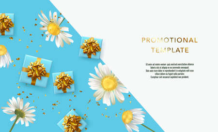 Holiday background promotional template. Women's day sale template. Decorative gift box with gold bow top view. Floral pattern. Ilustrace