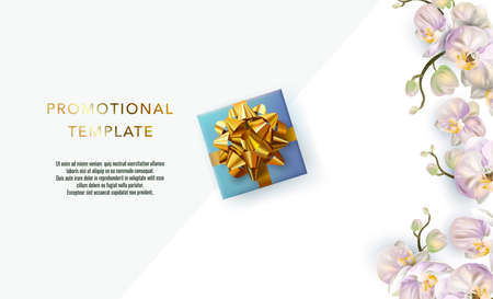 Holiday background promotional template. Women's day sale template. Decorative gift box with gold bow top view. Floral pattern. Illustration