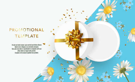 Holiday background promotional template. Women's day sale template. Decorative open gift box with gold bow top view. Floral pattern. Standard-Bild - 164743451